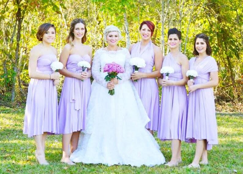 eca4e77a89d5c TDY Lilac Short Straight Hem Infinity Dress Multiway Bridesmaid Dress  Convertible Wedding Sorority Twist Wrap Dress (Regular & Plus Size)