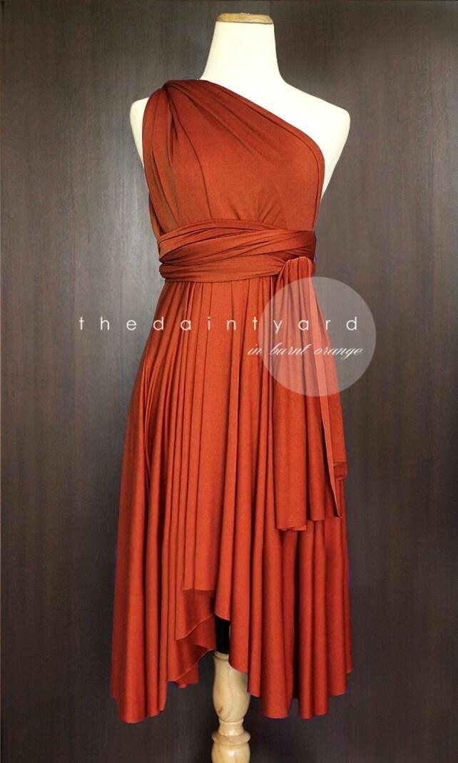 TDY Burnt Orange Short Asymmetrical Bridesmaid Dress | Etsy