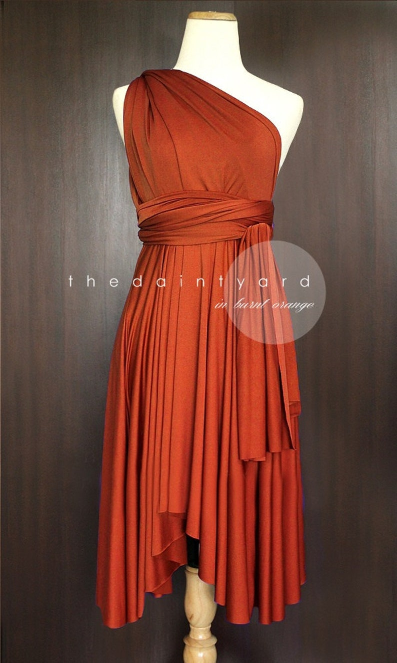 Tdy Burnt Orange Short Asymmetrical Bridesmaid Dress Etsy
