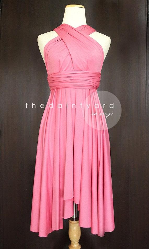 TDY Rouge Short Asymmetrical Bridesmaid Dress Convertible