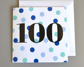 100th Birthday Card for Him - 100th - 100 -  Hundredth Blue Dotty Birthday Card