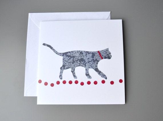 Cat Greeting Card Blank Walking Birthday