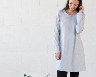 Organic Cotton Grey Tunic Dress - Winter Rose Dress