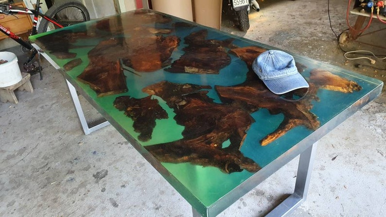 Kitchen Dining Table Made with Walnut Wood and Epoxy Resin