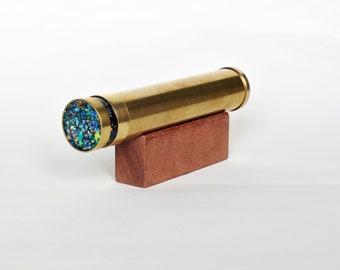 KALEIDOSCOPE  Leather wrapped Brass