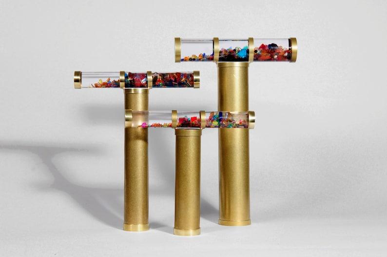 Giant Oil Kaleidoscope Gold Brass Kaleidoscope Gift idea image 0
