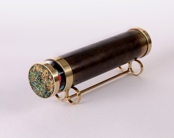 Large Classic Kaleidoscope, Traditional Kaleidoscope, Dark Brass Kaleidoscope, Personalized gift