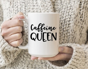 Caffeine Queen Vinyl Decal, Coffee, Coffee Love, Decal, Stickers, Laptops, Tablets, Water Bottles, Tumblers, Mugs, Travel Mugs, Car Sticker