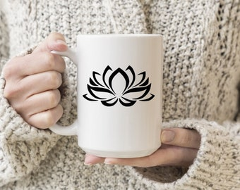 Lotus Flower Vinyl Decal, Coffee, Coffee Love, Decal, Stickers, Laptops, Tablets, Water Bottles, Tumblers, Mugs, Travel Mugs, Yoga Sticker