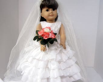 Wedding Gown Handmade especially for American Girl or 18in. dolls.