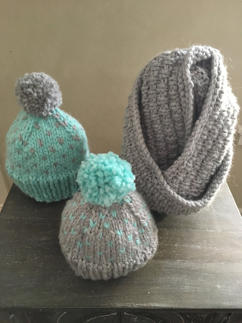 823b9fa1093 Heart Fair Isle Hand Knitted Hat and Scarf Set Faux Fur Pom