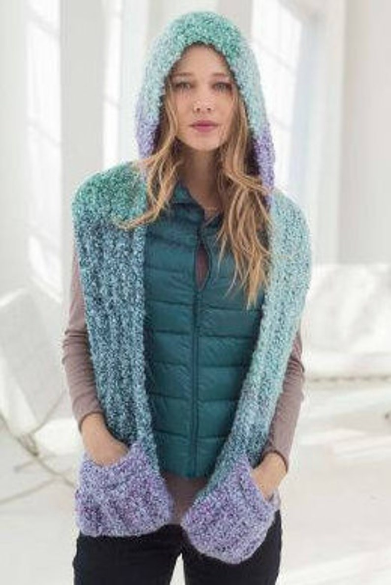 Knitted Hooded Scarf Long Hooded Scarf Scoodie Chunky Hooded Scarf