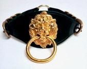 Lion Door Knocker Statement Collar, Fashion Choker, Fetish Collar, PVC, Brass