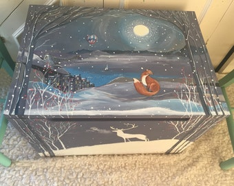 Bespoke toybox, memory box,  hand painted with Annie Sloan chalk paint and acrylics, ready to add name and date of birth.