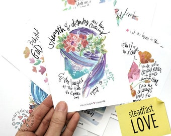 "PRINTABLE DIGITAL DOWNLOAD Scripture ""Steadfast Love"" Watercolor Hand-lettered Bible Verse Card Set of 12 Cards + Set of Art Prints"