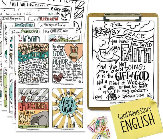 Printable Digital Download | Hand-drawn Good News Story Scripture Memory  Cards and Coloring Pages Set | 24 Cards and Coloring Pages | ESV