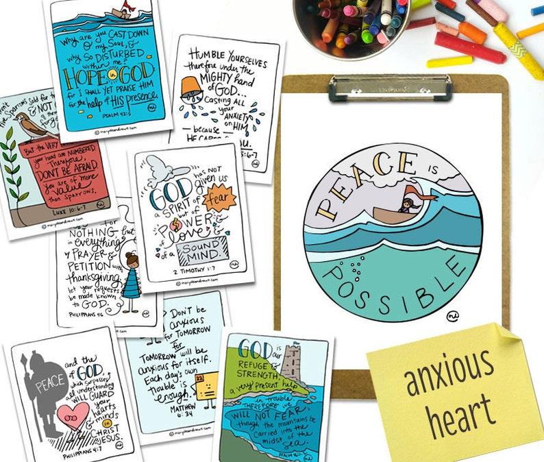 PRINTABLE Hand-drawn Anxious Heart Bible Verse Scripture Card image 0