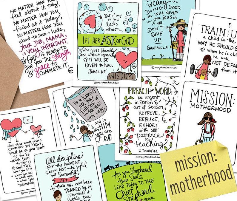 PRINTABLE Hand-drawn Mission: Motherhood Bible Verse Scripture image 0
