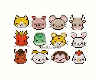 Cute Kawaii Chinese Zodiac Animals cross stitch pattern
