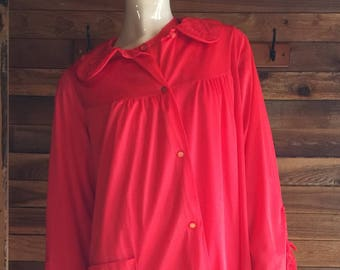 5b869be8fa Vintage Lingerie 1970s NANCY KING Red Size Medium Nightgown and Robe Set