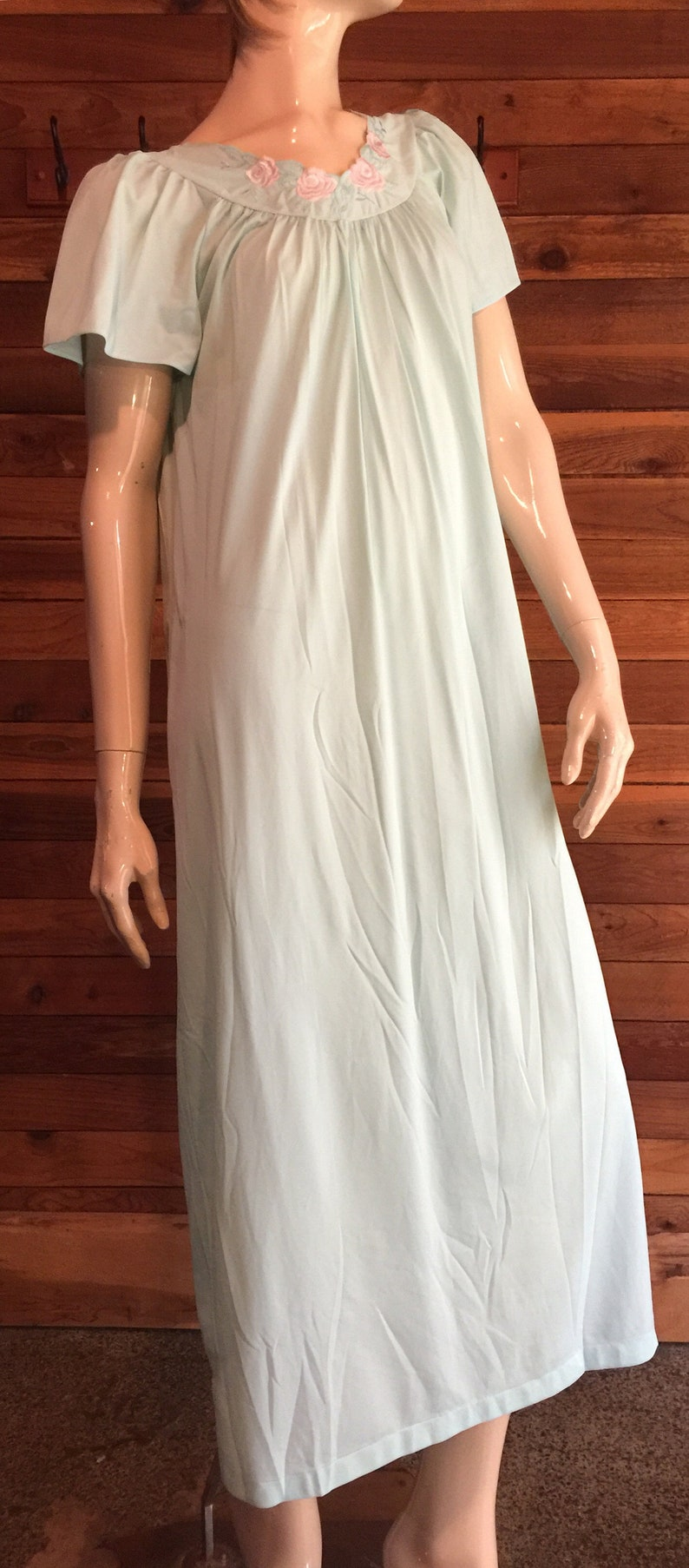 Vintage Lingerie 1980s SHADOWLINE Light Blue Size Small Nylon Nightgown
