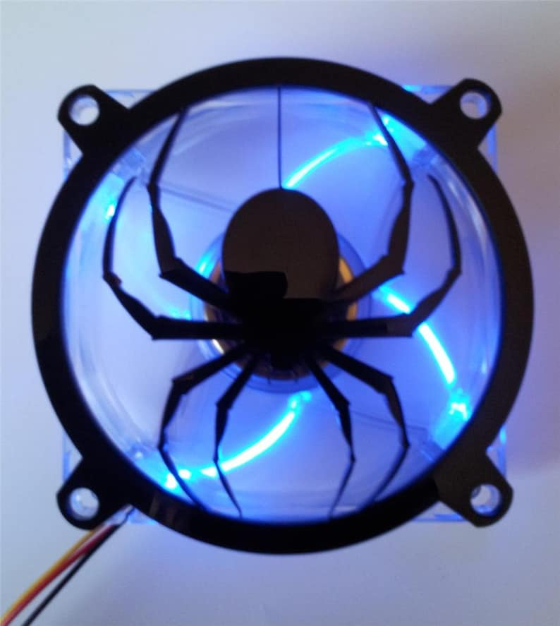 Custom DROPPING SPIDER Computer Fan Grill Gloss Black Acrylic Cooling Cover  Mod