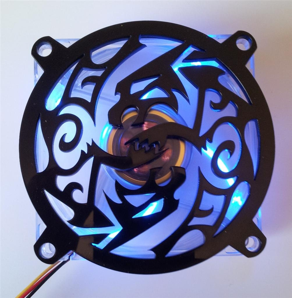 Custom 80mm SCARAB Computer Fan Grill Gloss Black Acrylic Cooling Cover Mod