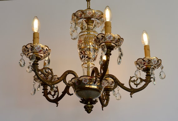 - Vintage Brass And Glass Chandelier Made In Spain Vintage
