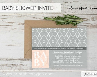 Baby Shower Invite | DIY Printable File | Cassidy Design | Baby Girl Pink