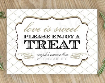 Candy Bar Sign     Editable DIY Printable     Love is Sweet Take a Treat   Cake and Black
