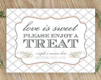 Candy Bar Sign     Editable DIY Printable     Love is Sweet Take a Treat   Cake, Blush, and Anvil Grey