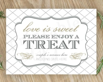 Candy Bar Sign     Editable DIY Printable     Love is Sweet Take a Treat   Cake and Anvil Grey