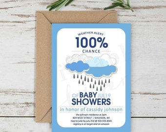 Baby Shower Invite | DIY Printable File | Weather Alert Design | Baby Boy in Blue