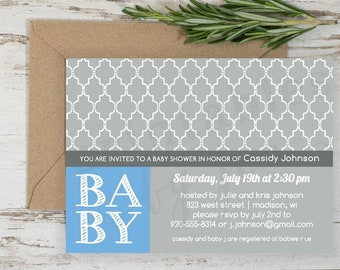 Baby Shower Invite | DIY Printable File | Cassidy Design | Baby Boy Blue