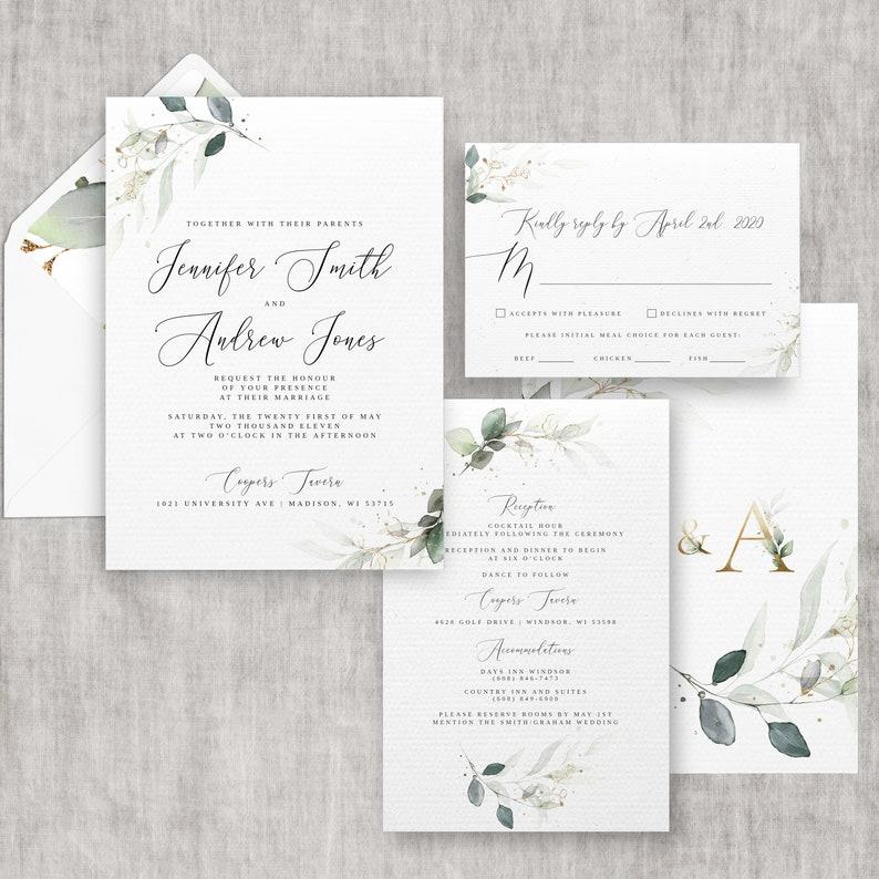 Eucalyptus Wedding Invitation Template