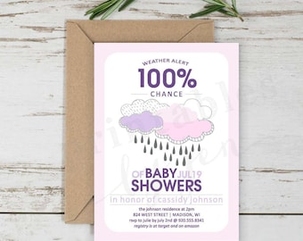 Baby Shower Invite | DIY Printable File | Weather Alert Design | Baby Girl in Pink