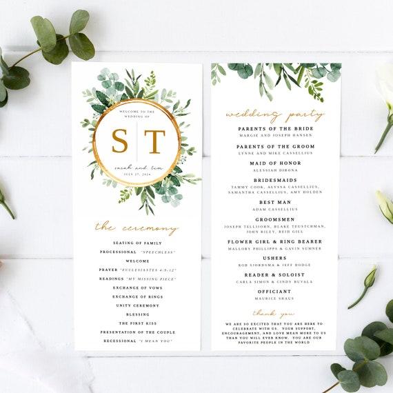 Wedding Ceremony Program Template \u2022 Editable 4x9 Calligraphy /& Watercolor \u2022 Floral Watercolor \u2022 Printable \u2022 Try before you buy \u2022 Templett
