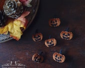 Halloween Jack-o-Lantern Pumpkin Brooch Orange Velvet Dark Mori Girl Witchecore Handmade by The Ivory Dolls