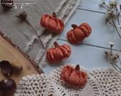 Autumn Fairytale Pumpkin Brooch Burnt Orange Velvet Mori Girl Cottagecore Handmade by The Ivory Dolls