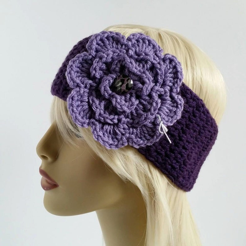 Simple Crochet Earwarmer with Flower***Made to Order***