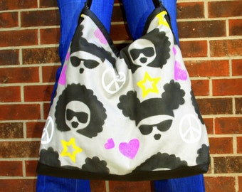 """Hand Painted Fabric """"Peace, Puff, Afro, Love"""""""