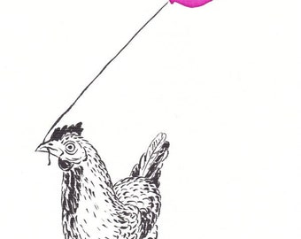 HEN with PINK BALLON, Original ink and watercolor painting, hen illustration, kids illustration, ink art, wall art decor, illustration art,