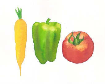 VEGETABLES CARROT PEPPER tomato illustration, Original watercolor painting, botanical illustration, watercolor art, home decor, wall decor