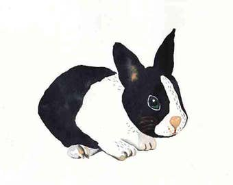 "BLACK and WHITE RABBIT, Original watercolor painting, 7"" x 9,8"", nursery art, wall decor, rabbit illustration, animal lover girft, rabbit"