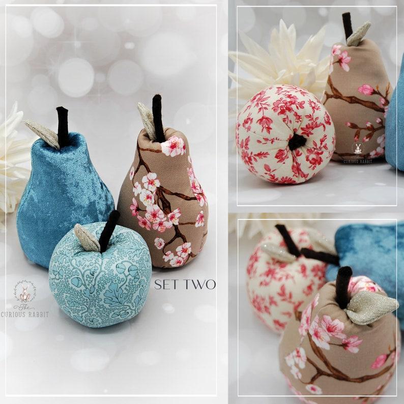 DECORATIVE FRUIT  2 sets BLUE  Apple & Pears home decor home image 0