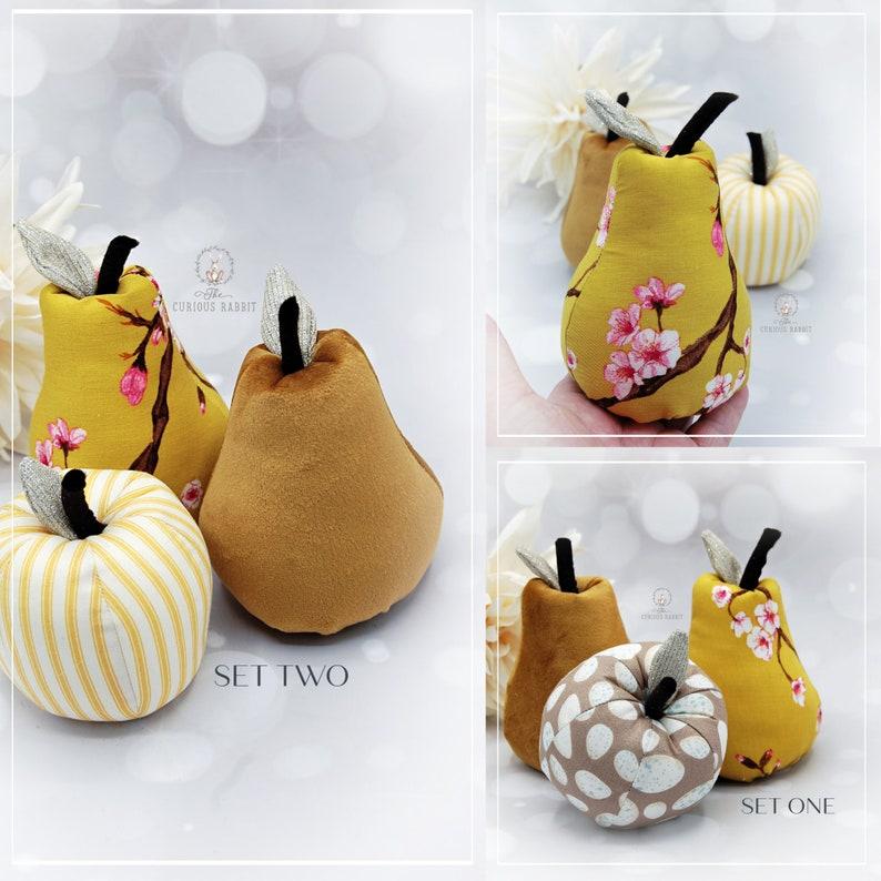 DECORATIVE FRUIT  2 sets MUSTARD Apple & Pears home decor image 0