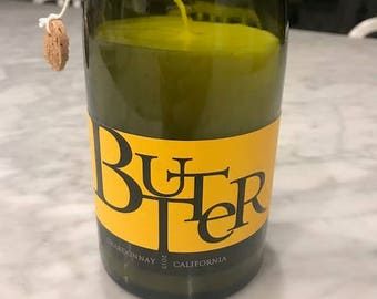 Recycled Wine Bottle Candle - Butter