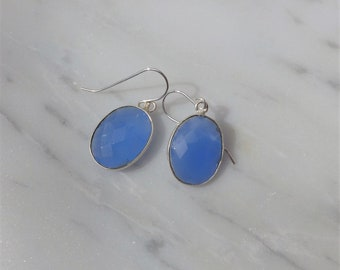 Sky Blue Chalcedony and Silver Earrings