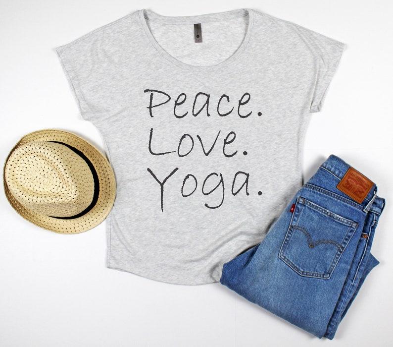 d2a1ce8797 Peace Love Yoga Yoga Shirt off the Shoulder Top   Etsy