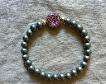 Oxidized Silver Bead Stretch Bracelet with Pink Tourmaline Pave Bead